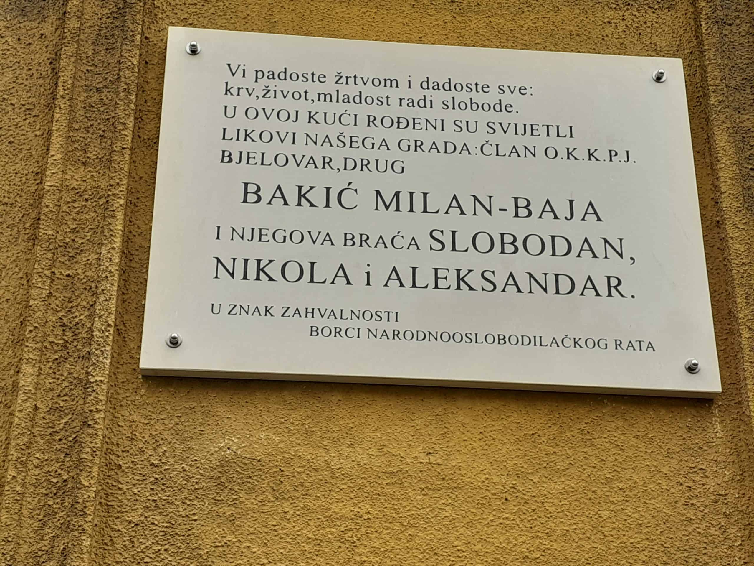 ODAVANJE POČASTI Braći Bakić je vraćena spomen ploča