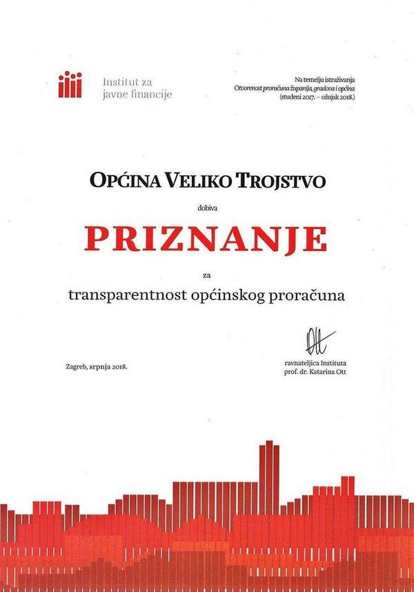 ČISTA PETICA Još jedna općina potpuno transparentna