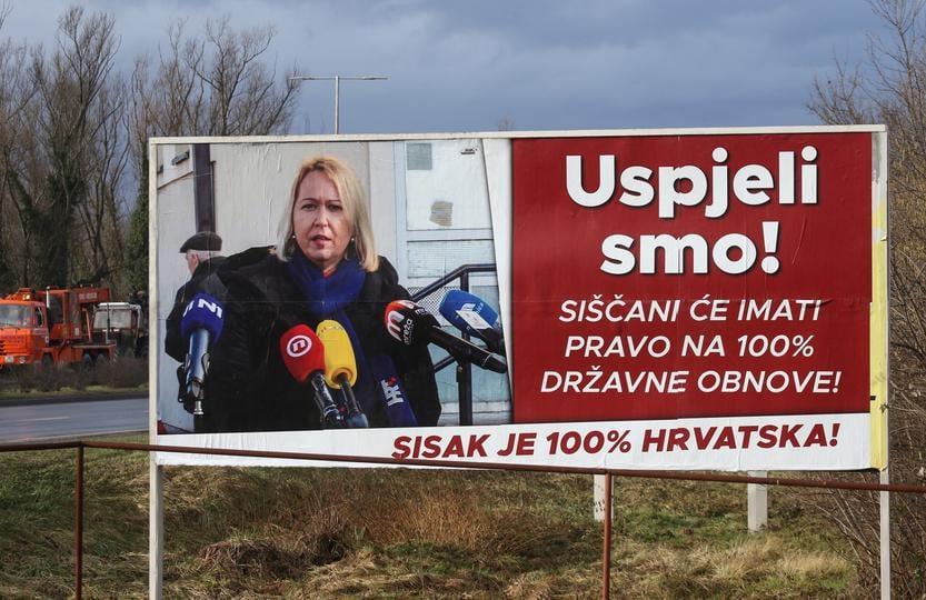 HDZ O PLAKATIMA IKIĆ BANIČEK Samopromocija joj važnija od stradalog grada!