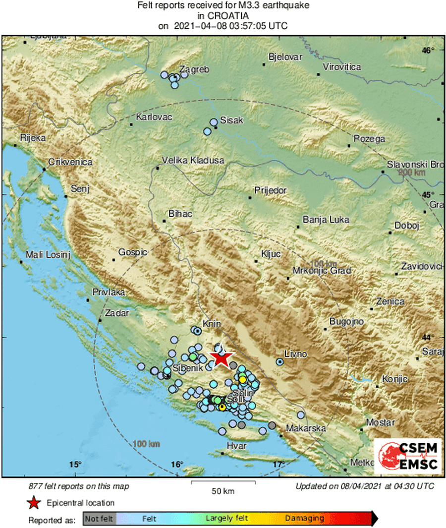 Dalmatince probudio potres jačine 3,2 po Richteru